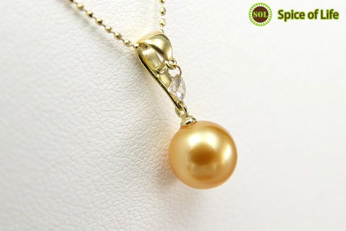 ダイヤ一粒真珠ゴールドネックレス(side2)