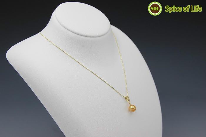 一粒真珠ダイヤゴールドネックレス(side3)