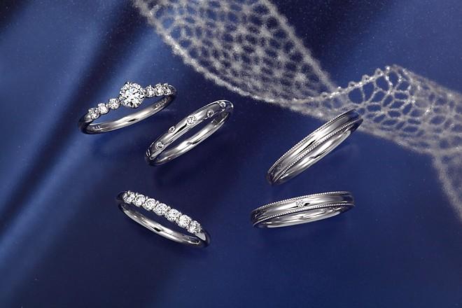 星の砂 HOSHI no SUNA Mizar(ミザール) レディース ダイヤモンド マリッジリング 【1本画像上】ペアリング 結婚指輪