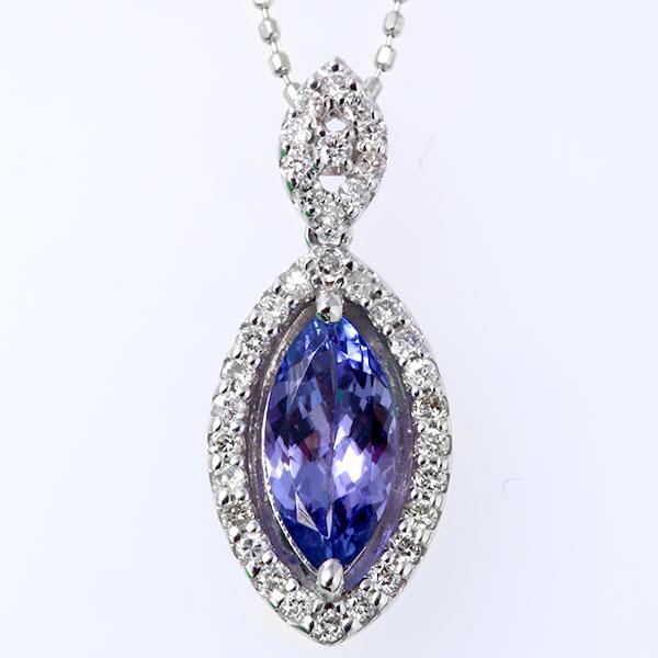 ホワイトゴールド K18WG  タンザナイト ダイヤモンド ネックレス 0.3ct