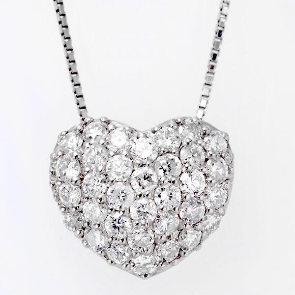 プラチナ PT  ダイヤモンド ハート パヴェ ネックレス tn29