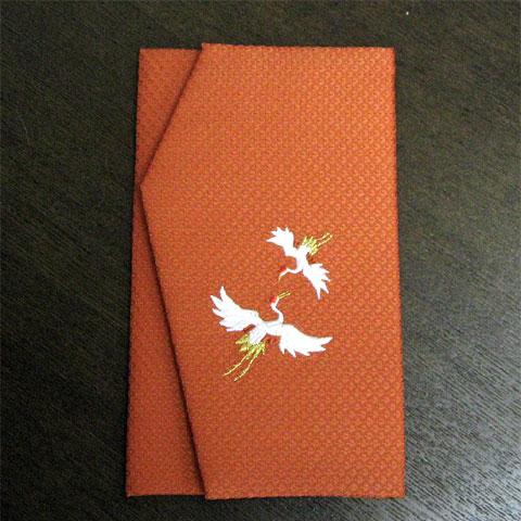 かのこ織刺繍金封ふくさ 鶴