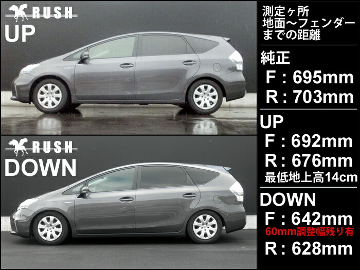 RUSH車高調 ZVW40プリウスA