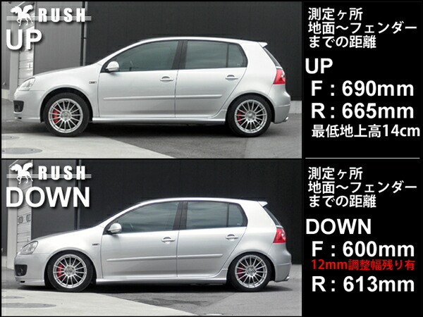 RUSH車高調-ゴルフ5