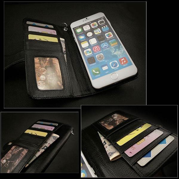 genuine leather iphone 6 plus  flip case wallet card slots