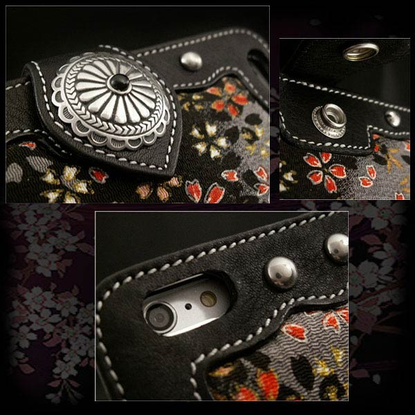 custom handmade genuine leather iphone 6  plus  flip case wallet cover