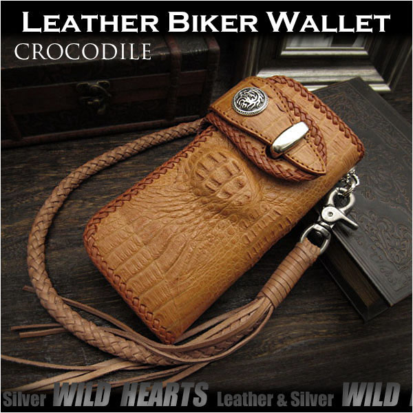 crocodile,biker,wallet,harly,men,leatheer