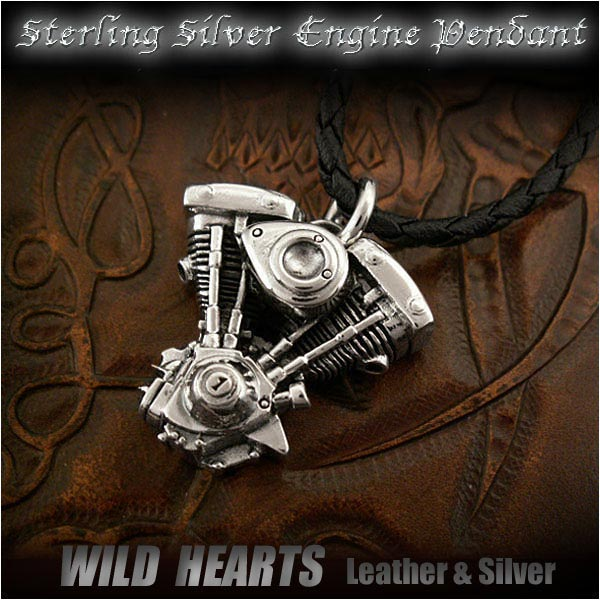 harley,davidson,motorcycle,engine,shovel,evolution,sterling,silver925,pendant,necklace