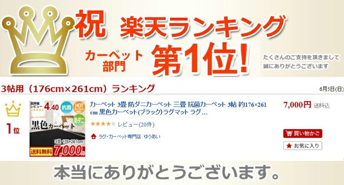 楽天ランキング 第1位 黒色(ブラック)カーペット BK900(Y)(ホットカーペット対応)