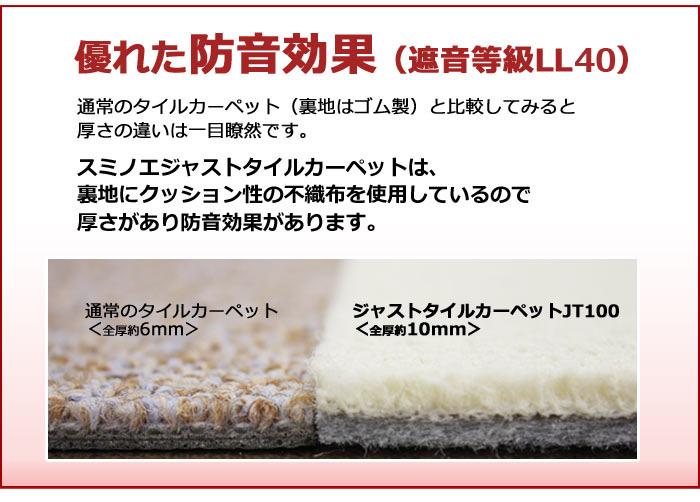 激安タイルカーペットJT-100(S) 防炎・滑り止め加工(40cm×40cm) 10枚入り