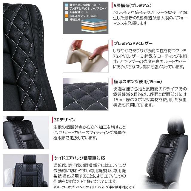 5層構造 プレミアムPVCレザー 極厚スポンジ仕様 3Dデザイン サイドエアバック装着車対応