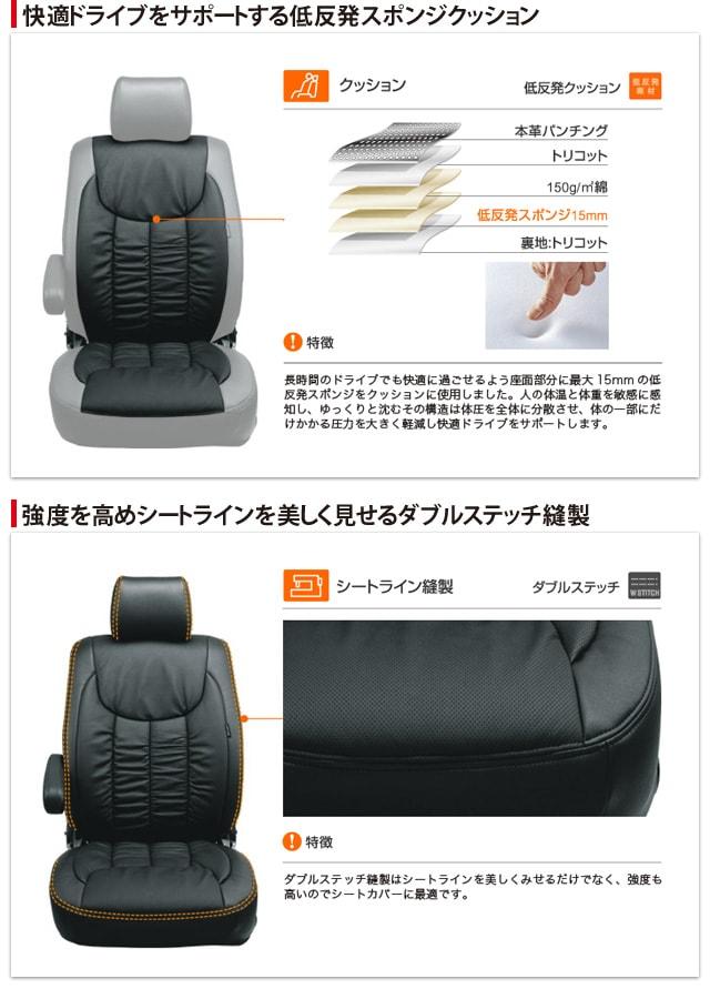 快適ドライブをサポートする低反発スポンジクッション 強度を高めシートラインを美しく見せるダブルステッチ