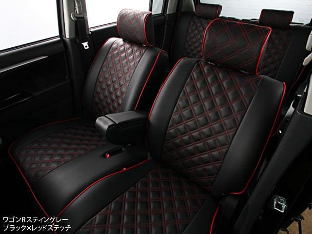 クラッツィオキルティングタイプ シートカバー CLAZZIO ダイヤキルト ワゴンRスティングレー ブラック×レッドステッチ