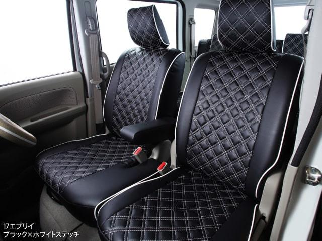 クラッツィオキルティングタイプ シートカバー CLAZZIO ダイヤキルト 17エブリイ ブラック×ホワイトステッチ