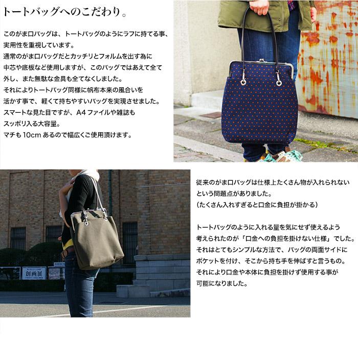 がま口トートバッグ 水玉 紺×茶、海松色