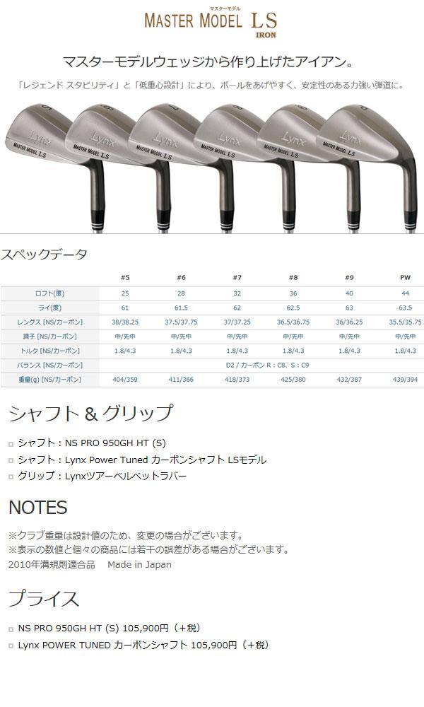 【送料無料】リンクス メンズ マスターモデル LS アイアンセット(5I-Pwの6本) N.S.PRO950GH HTスチールシャフトモデル[LYNX]