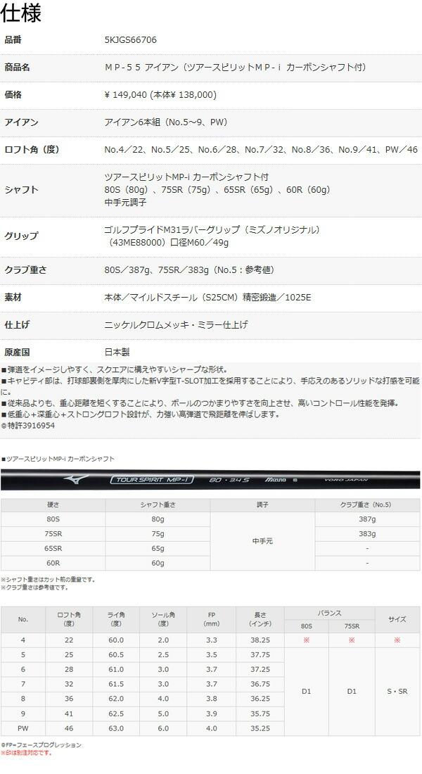 【2016年継続品 送料無料】ミズノMP-55アイアン6本セット(5I-9I、PW) ツアースピリットMP-i カーボンシャフト 5KJGS66706 [MIZUNO]