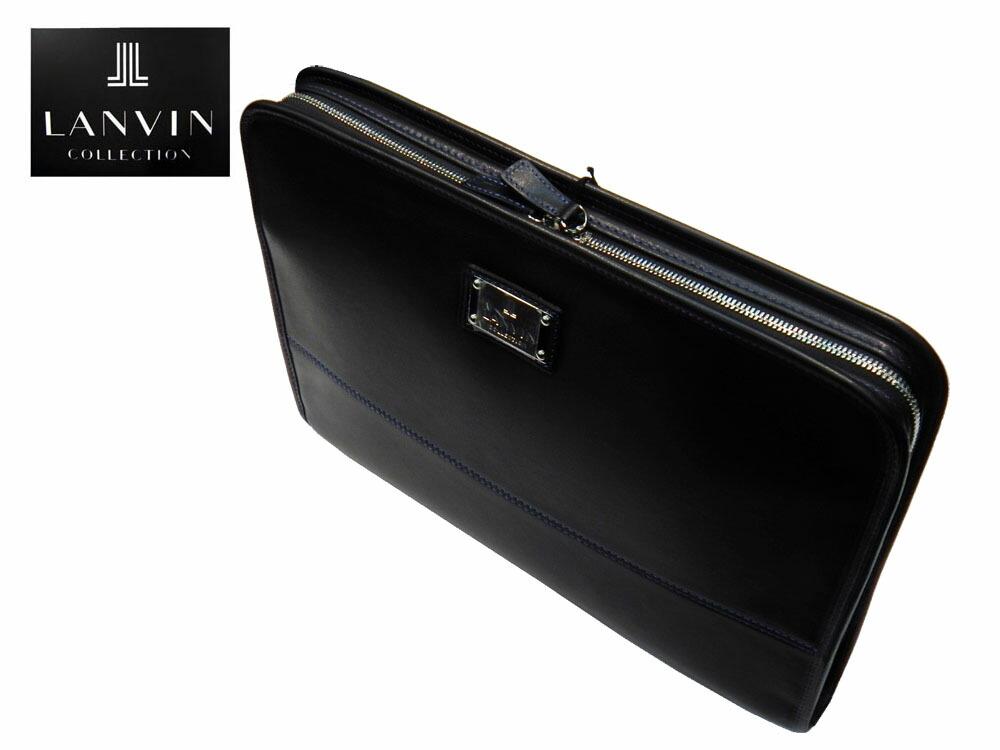 『国内縫製 LANVIN 『ドキュメントケース』 牛革 超軽量 『ブラック』