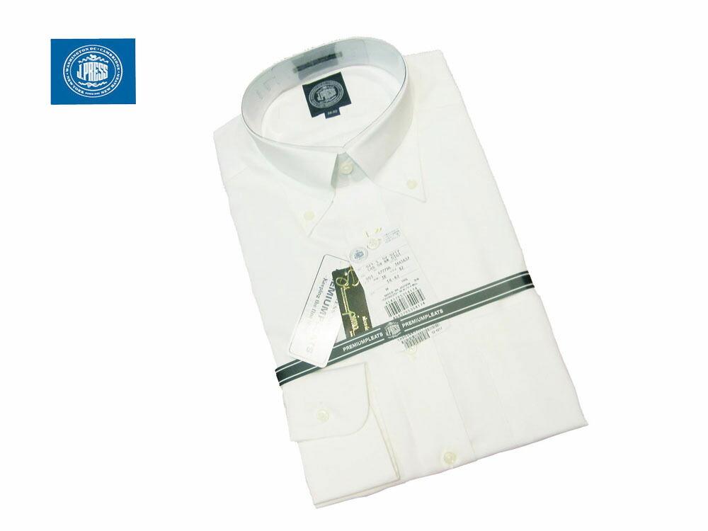 『J.PRESS 長袖 ボタンダウンシャツ ピンオックスフォード ホワイト』