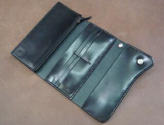 サドルウォレット 長財布 革財布 革製品 見開き図