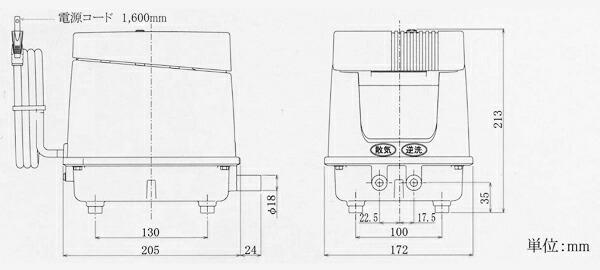 ブロワー 安永EP80E-L 詳細図
