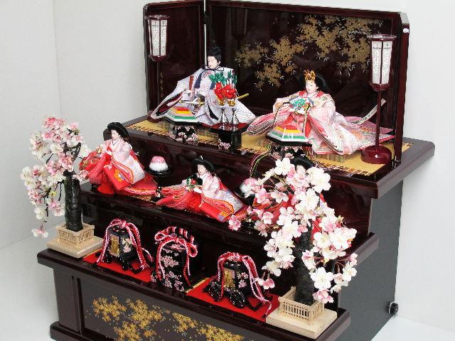 雛人形|三段飾り|雛|ひな人形|三段|3段|五人飾り|五人|ピンク|お雛様|おひな様|送料無料|淡くきれいな色合いの雛人形研ぎ出し茶塗り三段飾り