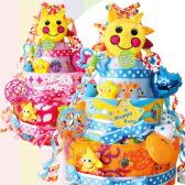 ケーキのデコレーションのようにおもちゃたくさんがついたSassyサン×サンデラックス4段おむつケーキ