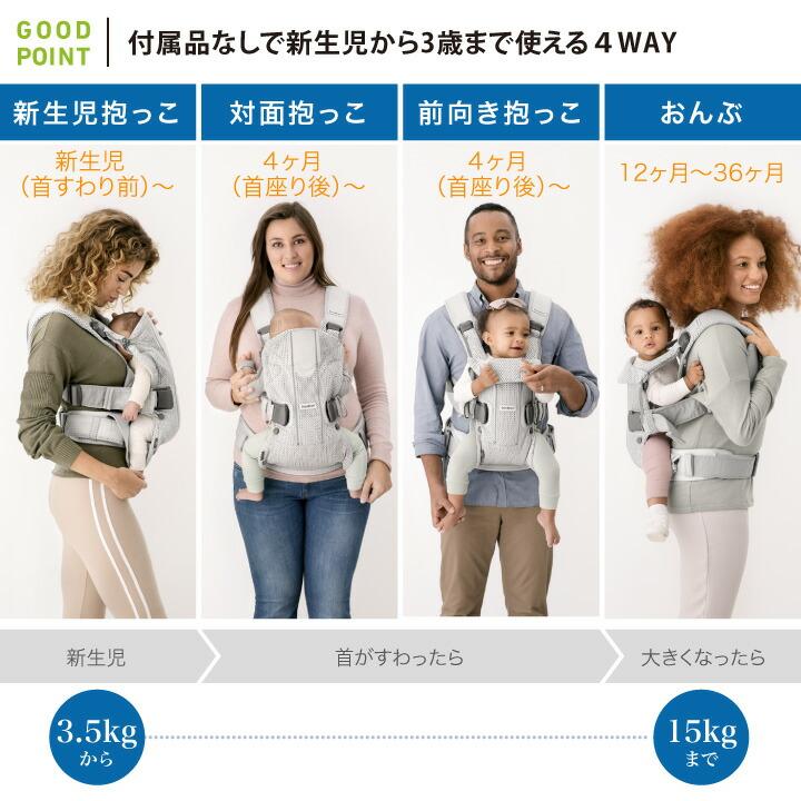 BabyBjorn(ベビービョルン) ONE KAI Air付属品なしで新生児から3歳まで使える4WAY