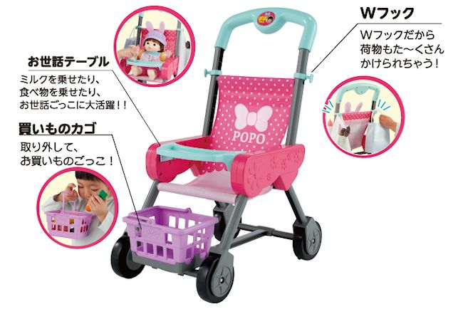 ぽぽちゃんのお買いものベビーカー ラズベリーピンクの画像