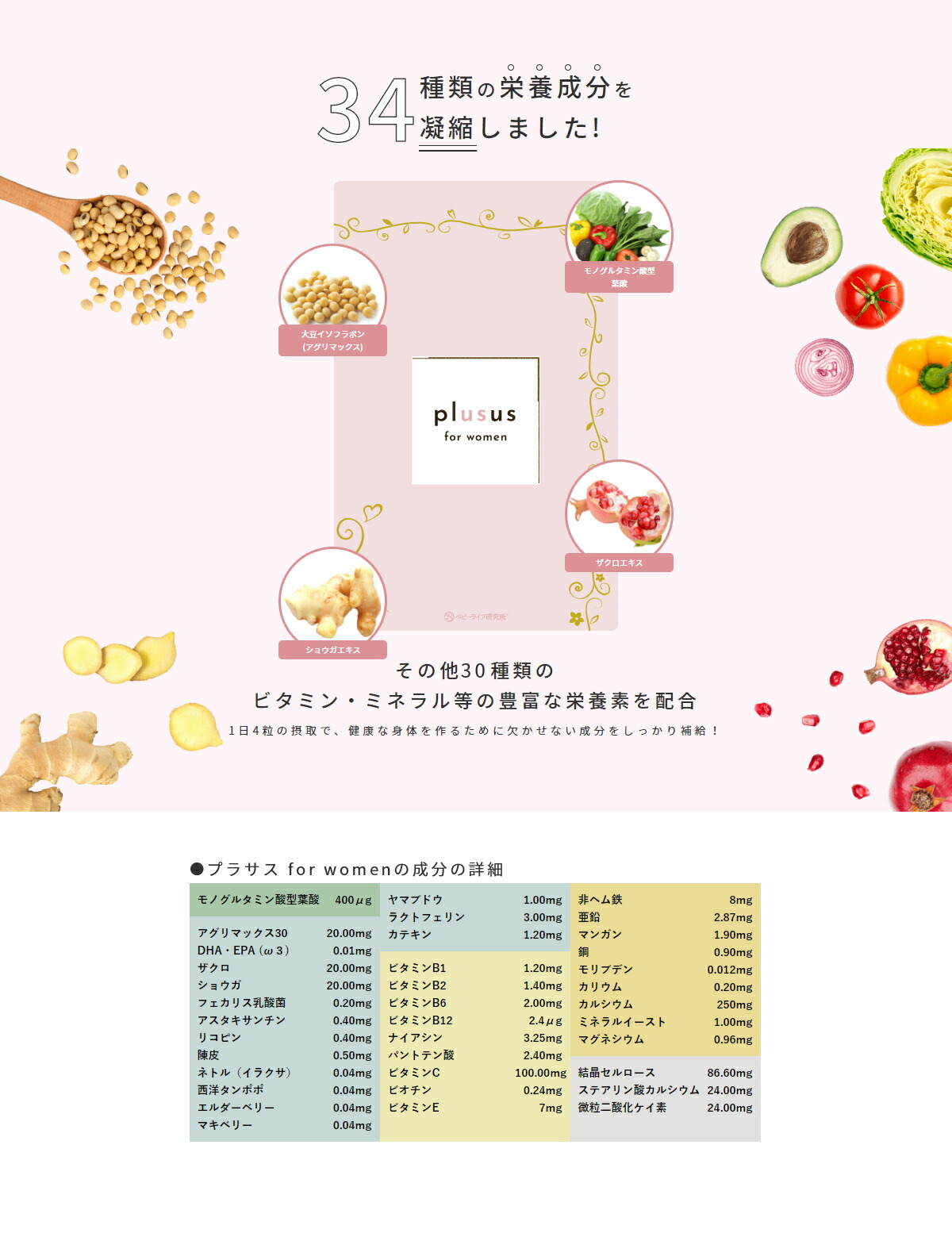 34種類の栄養成分を凝縮。その他30種類のビタミン・ミネラル等の豊富な栄養素
