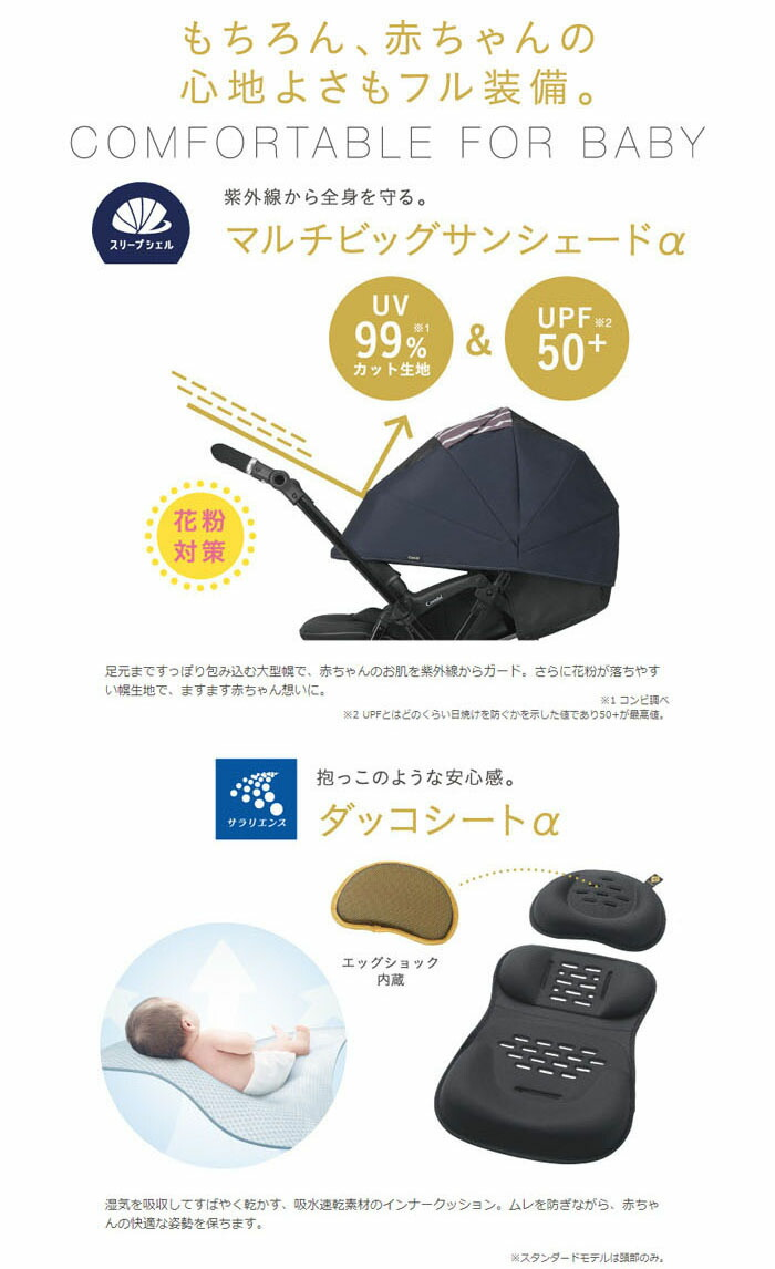 コンビ ホワイトレーベル スゴカルα 4キャス compact エッグショック HK 特徴