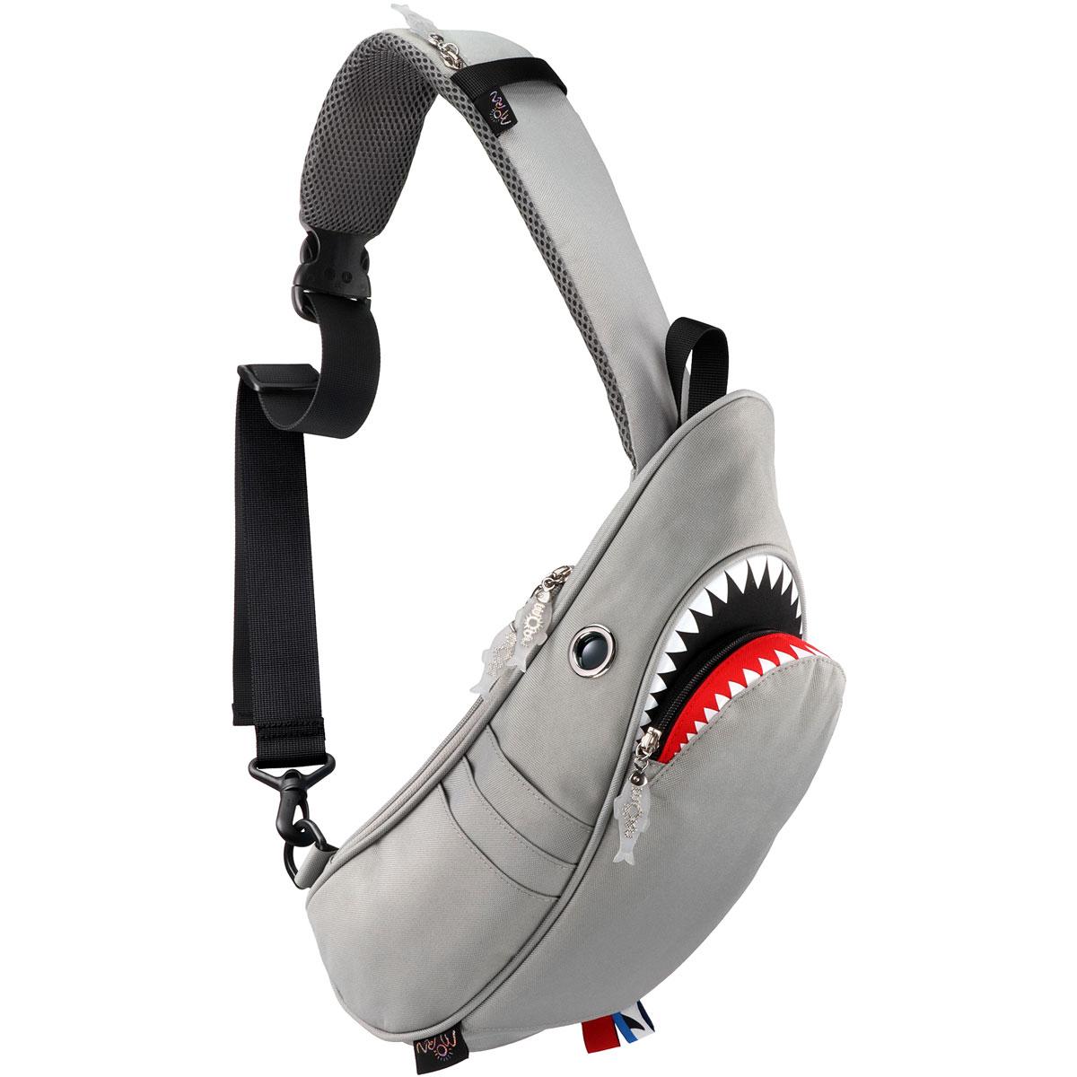 ウエストポーチ モーンクリエイションズ シャークスリングバッグ 5L 2019新作 収納スペースは全部で10ヶ所! ファスナー付きポケット ウエストバッグ ウエストバック MORN CREATIONS サメバッグ シャークバッグ グレー