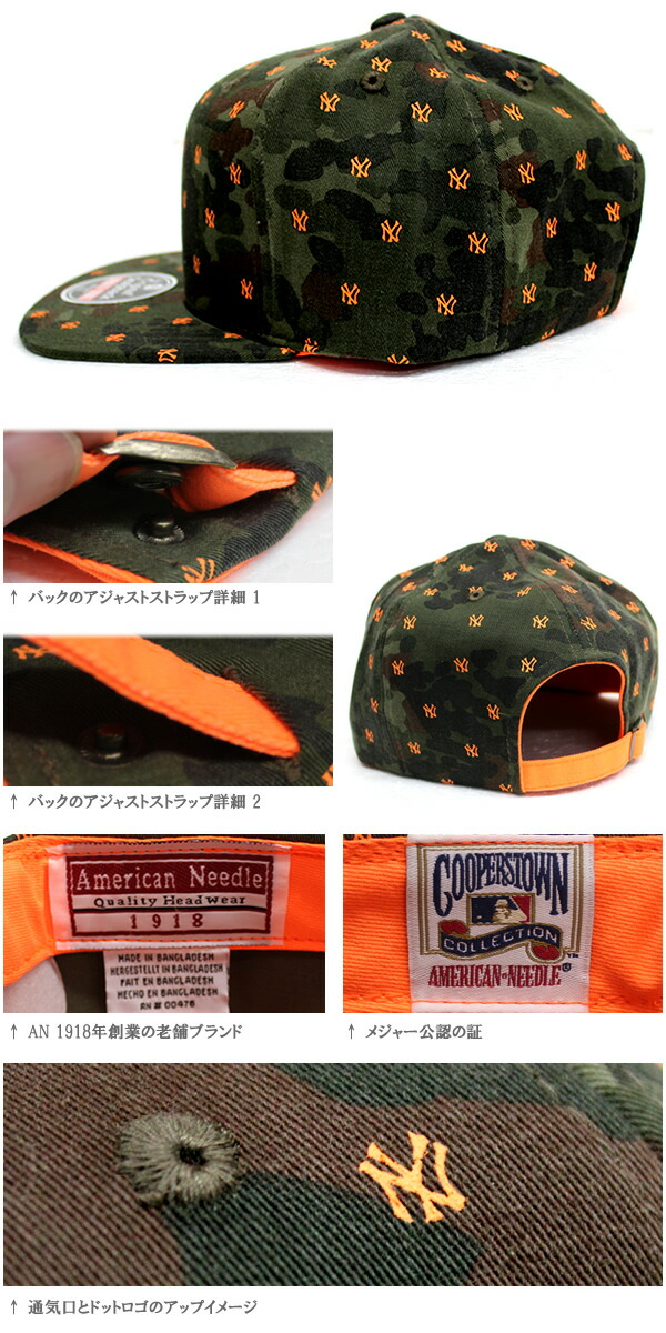 130c29b5631 Introduce   product description. AMERICANNEEDLE American needle strap back Cap  NY YANKEES Camo pattern duck x Orange In General ...