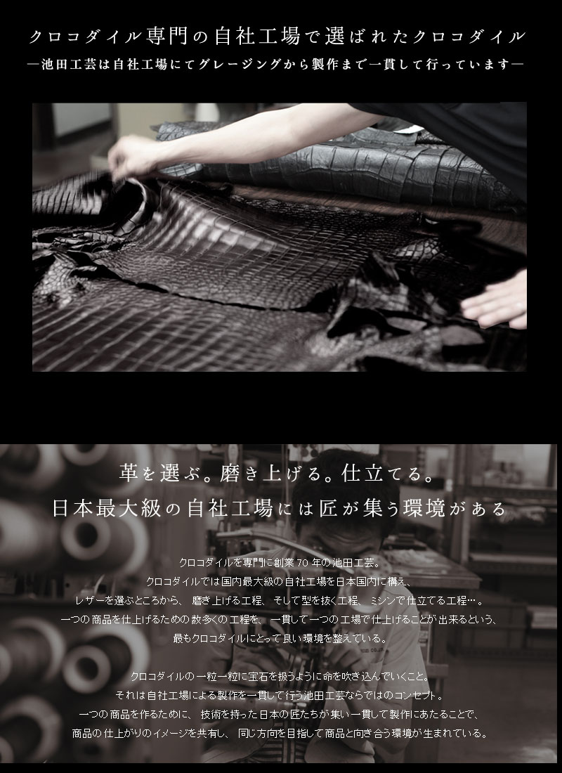 クロコダイル専門の自社工場で選ばれたクロコダイル 池田工芸 クロコダイルBBB 5127