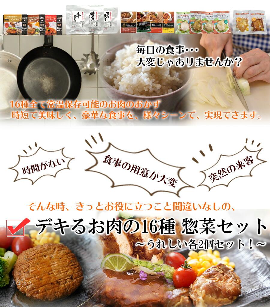 レトルト 惣菜 肉のおかず詰め合わせ16種32食セット