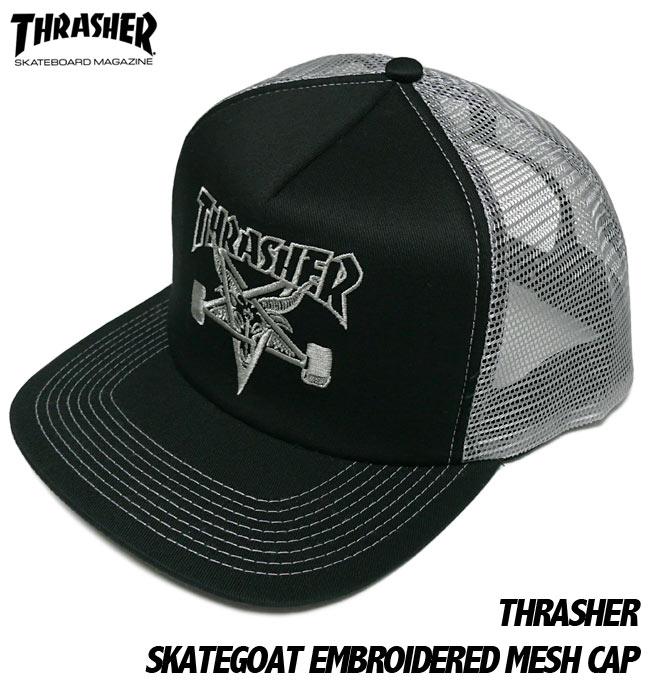 THRASHER スケートゴート メッシュキャップ スラッシャー SKATEGOAT EMBROIDERED MESH CAP 刺繍ロゴ スケーター パンクス 帽子 ユニセックス