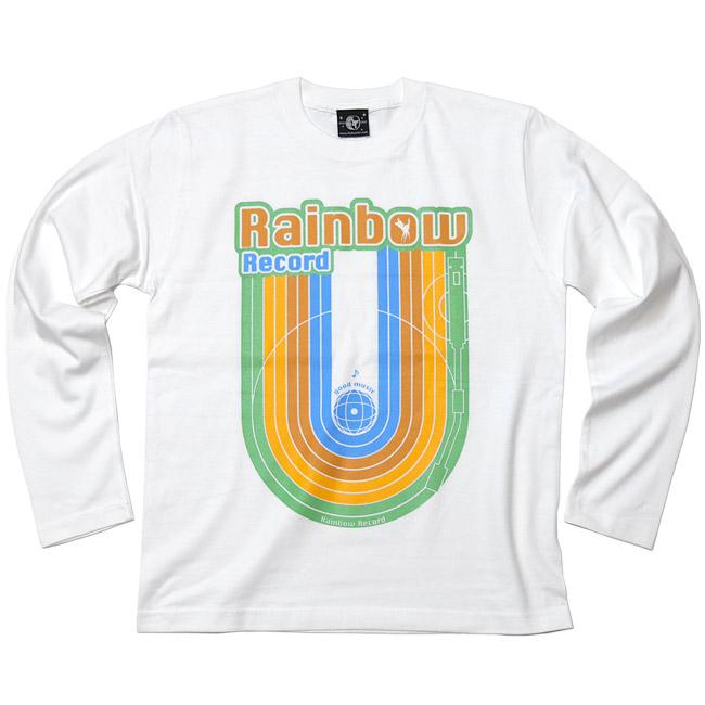 Rainbow Record レインボーレコード ロングスリーブTシャツ 虹 音楽 ミュージック ポップ ロック かわいい カジュアル アメカジ オリジナル ロンT 長袖Tシャツ カットソー メンズ レディース ユニセックス ホワイト 白 Tシャツ屋さんバンビ XSサイズ Sサイズ Mサイズ Lサイズ