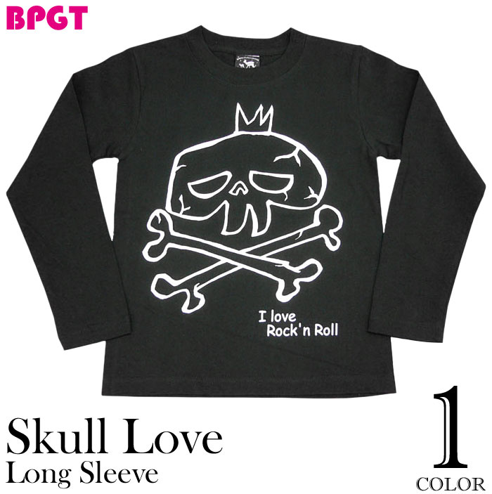 I love Rock'n Roll スカルLOVE ロングスリーブ Tシャツ BPGT バンビ グラフィックTシャツ ロック ドクロ バンド 長袖Tシャツ カットソー メンズ レディース ユニセックス ファッション