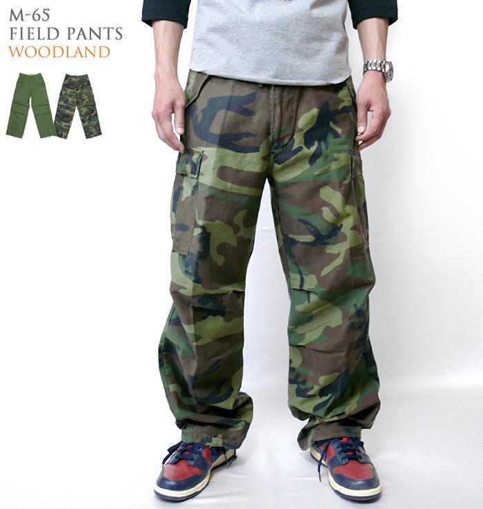 M-65 フィールドパンツ オリーブ ウッドランド 迷彩 カモフラ M65 カーゴパンツ ミリタリーパンツ Cargo Field Pants アメカジ アメリカ軍 米軍 USアーミー メンズボトムス ファッション 太め ワイドパンツ