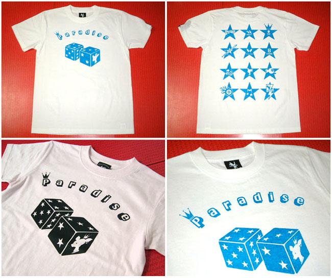 Paradise Tシャツ ホワイト ライトピンク BPGT バンビプラネットグラフィックTシャツ ダイス 賽子 ロゴ オリジナルTシャツ 半袖Tee メンズ レディース ユニセックス