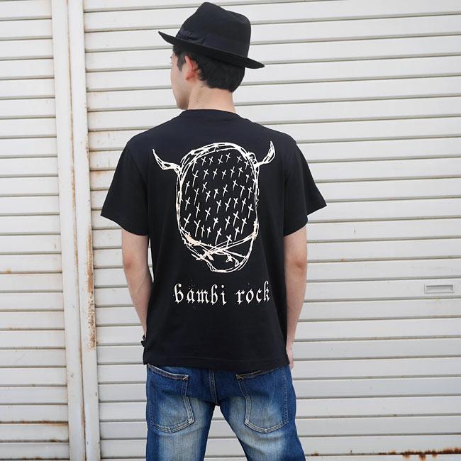 鹿の骨 Tシャツ ブラック BPGT 半袖 黒色 スカル 骸骨 パンクロックTシャツ ワンポイント バックプリント アメカジ カジュアル かっこいい メンズ レディース 男女兼用