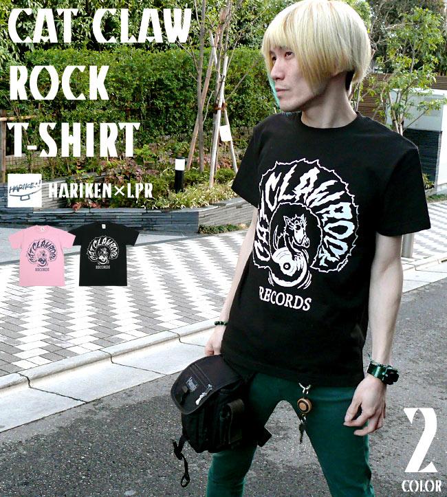 CAT CLAW ROCK キャット クロー ロック Tシャツ HARIKEN ハリケン ブラック ピーチ 黒 桃色 ネコ 猫
