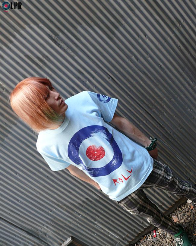 ROLL ロール Tシャツ ホワイト ライトブルー ホットピンク LPR イナズマレコード MODS モッズ ROCK ロックTシャツ LP アナログ盤 オリジナルTシャツ 半袖 メンズ レディース ユニセックス ファッション