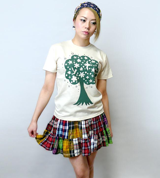 happy tree ハッピー ツリー Tシャツ なかひらまい 幸せの木 メッセージTシャツ イラスト ナチュラル ブルー カジュアル オリジナル コラボTシャツ 半袖 メンズ レディース ユニセックス ファッション