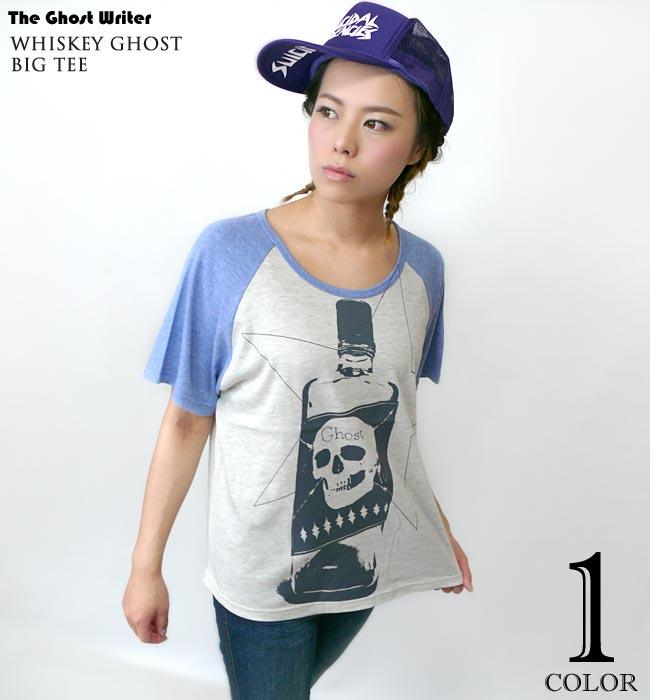 Whiskey Ghost ラグラン ガールズ ビックTシャツ The Ghost Writer ザ ゴーストライター パンク ロックTシャツ スカル ドクロ オリジナルデザイン 半袖 レディース ファッション