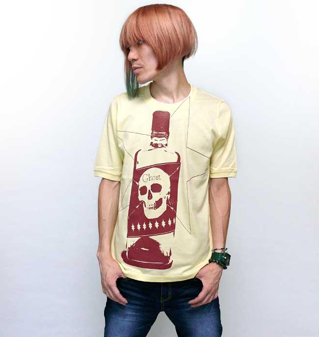 Whiskey Ghost 1/2スリーブ Tシャツ The Ghost Writer ザ ゴーストライター ドクロ スカルTシャツ 髑髏 骸骨 アメカジ カットソー イエロー 黄色 オリジナルTシャツ 半袖 メンズ レディース ユニセックス