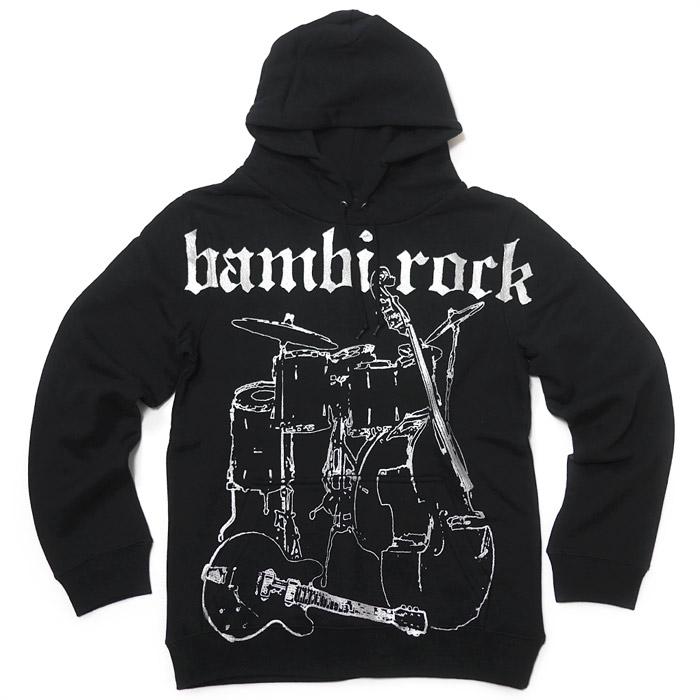 bambi rock フーデット ライトパーカー スウェット ロックバンド ギター ベース ドラム グラフィックプリント アメカジ カジュアル メンズ レディース 男女兼用 かっこいい ブラック 黒色 コットン綿100% オリジナルブランド XSSMLサイズ Tシャツ屋さんバンビ