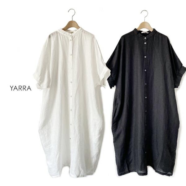 YARRA(ヤラ)スモッキングギャザー前開きワンピース