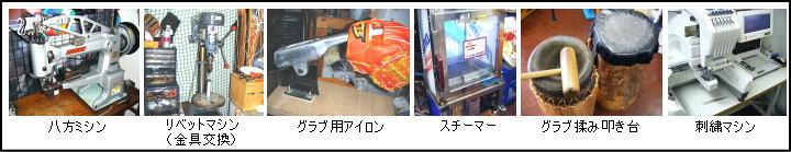 野球用品 の「ベースボールTS」グラブの型付け、スパイクの縫いP他、技術が売りです。