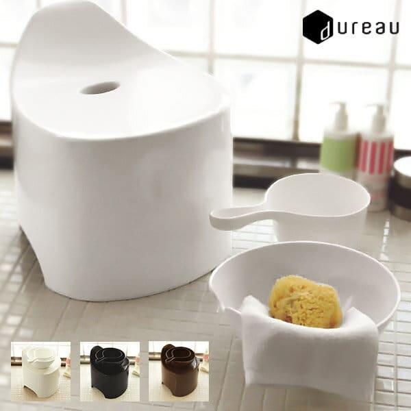 【送料無料】バスチェア セット 手桶 洗面器「デュロー」3点セット